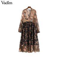 Vadim donne scollo a V in chiffon floreale abito a pieghe vedere attraverso manica lunga vintage femminile retrò chic abito a metà polpaccio vestidos QA763
