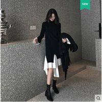 الأزياء الأوروبية تصميم جديد للمرأة شخصية مضيئة كم طويل محبوك خليط غير المتكافئة الكشكشة أسفل سترة طويلة اللباس