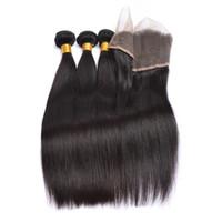 Индийский прямо девственные волосы 3 пучки утка с 13X4 уха до уха кружева фронтальная закрытие человеческих волос естественный цвет Бесплатная доставка