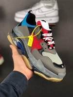 Balenciaga Paris 2019 Crystal Bottom Triple-S Zapatos de ocio Luxury Dad Shoes Plataforma Triple S Zapatillas de deporte para hombres Mujeres Vintage Kanye Old Grandpa Trainer
