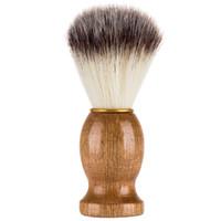 Los hombres de la manija de madera Brocha de afeitar del tejón del pelo del peluquero Salón hombres facial Barba limpieza Appliance Shave herramienta HHA640
