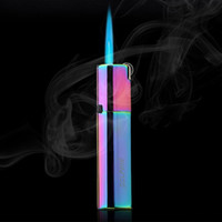 Torche Briquet coupe-vent Meule Rechargeables Flint Lighter Blue Flame Gas Butane Briquets Jet