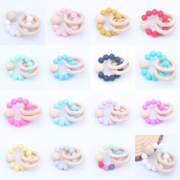 Baby Teether Anéis Alimento Beech Beech Teething Anel Anel Soothers Chew Brinquedos Brinquedos Duche Round Bead Newborn Silicone Teethers M1427