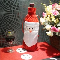 Red Wine Bottle Cover Bags Christmas Santa Claus Dinner Tabl...