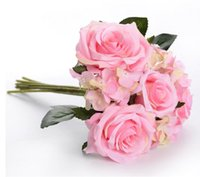 Silk flower 7 heads roses Hydrangea flowers Bouquet Artifici...