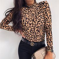 여성들 New 새로운 레오파드 터틀넥 슬림 T 셔츠 섹시한 패션 긴 소매 T 셔츠는 캐주얼 티 의류 탑