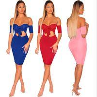 c6c32ef2e76 Wholesale off shoulder elegant knee high dresses for sale - womens one  piece dress short sleeve
