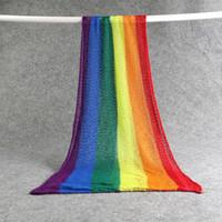 Rainbow Mohair Swaddling Decke Wrap Neugeborene Stretch Fotografie Requisiten Infant Soft Photo Requisiten Decken für 0-2m Baby 3 Farbe DHL