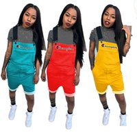 Women Champion Printed Overall Shorts Jumpsuit Short Suspend...