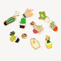 2019 Bijoux De La Mode Coloré Épingles D'émail Badge Pour Vêtements Coloré Dessin Animé Broches Succulentes Plante Cactus Veste Sac DIY Insigne YD0138