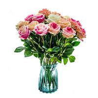 Flores artificiais Imitação cabeça rosa de seda Bouquet Imitação Rose falso casamento da noiva Bouquet partido Home Decoração LXL845-1