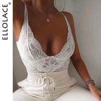Ellolace Seksi Dantel Derin V Bodysuit Kadınlar BODYCON Vücut Beyaz Mesh Patchwork tulumları Kadın tulum 7 renk Moda Seksi Vücut MX200402