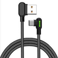 Çift Dirsek C Tipi Mikro USB Kabloları tüm Cep Telefonu oyun kablo için Hızlı Şarj 90 Derece Kablo ile Işık İçin Samsung Huawei kablo