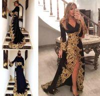Sparkly Золотые кружевные вечерние платья Robe 2020 Black Sexy Длинные рукава высокого щелевая Блестящая аппликация отпуск Wear Пром платье