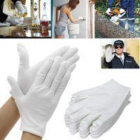 12pcs Soft White Cotton Guanti Garden Housework Guanto Ispezione Lavoro Cerimonia di nozze anti-statica guanti riutilizzabili lavabili
