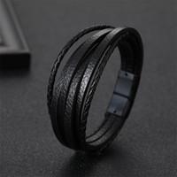 2019 Lederarmband Männer Armbänder für Herren-Magnet-Verschluss Rind Geflochtene Multi Layer-Verpackungs-Armband Mann 19.5cm