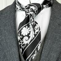 F30 اليدوية أسود أبيض المشارب الزهور الرجال ربطات عنق 100٪ الحرير الجاكار المنسوجة الأعمال الرسمي موضة البدلة هدية للرجال