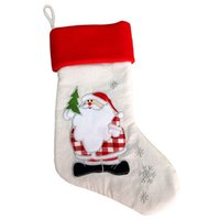 Christmas Stocking Linen Embroidery Christmas Socks Gift Bag...