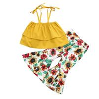 Toptan çocuk giysi tasarımcısı kız bebek giysi tasarımcısı BY1026 kıyafetler kız 2adet fırfır Trim Kaşkorse Üst Ayçiçeği Baskı fırfır Pantolon