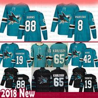 San Jose Sharks 8 Joe Pavelski 88 Brent Burns Jersey 19 Joe Thornton 42  Joel Ward 65 Erik Karlsson Hockey Jerseys 9777d3b9a
