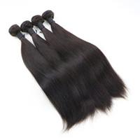 Soie Droite Non Transformés Vierge Péruvienne Armure De Cheveux Trame Moyenne Brun Extensions De Tissage De Cheveux Humains 4 Bundles Deal
