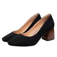 أحذية حجم 34-40 النساء أصابع مربع الانزلاق على مضخات الإناث الضحلة الألوان شوز مكتب سيدة الوظيفي اللباس امرأة 6 سنتيمتر كعب سميك حذاء