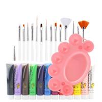 3in1 Tam 12 Renk 3D Nail Art Tırnak Ucu Boya Boya Boya + 15 Boyama Kalem Fırça Seti Akrilik Boya Tüp Seti Manikür Çizim Aracı LH311