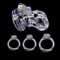 Bloqueo PA nueva resina natural del varón 3D Corto Cock jaula con 4 Tamaño del anillo del pene Castidad Dispositivo para adultos Bondage BDSM Producto juguete del sexo