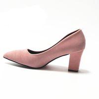 Zapatos rosados para mujer, 7.5 cm Bloque, tacón, mujer sexy, bombas Verano 34-39 Mujer Zapato Office Low Heel Femme Chaussure