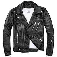 Mens Black Biker Leather Jackets Coats Double Diagonal Zippe...