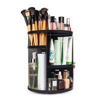 360 Rotating Makeup Organizer, DIY Maquiagem ajustável carrossel de giro titular rack de armazenamento, Grande Make up Caddy Shelf Cosmetics Preto