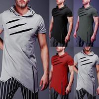 Camiseta con capucha para hombre Summer Muscle Short Sleeve Sports Plain Casual Hooded Tops