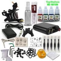 Kit complet pour machine à tatouer Set 1 bobines Pistolets 4 couleurs Noir Pigment Sets Kit de tatouage pour débutant Tatoo Permanent Permanent