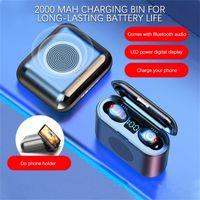 F9 TWS Bluetooth 5.0 Speaker Mini наушники HIFI стерео микрофон Беспроводные наушники Наушники с LED цифровой зарядки чехол