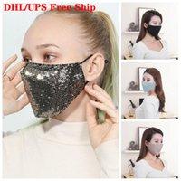 DHL Free Ship Sequins Rosto máscara de respiração respiradores gancho Protect Designer Boca Máscaras Unisex homens e mulheres para Outono Inverno