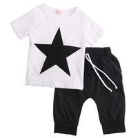 2PCS Bambini Ragazzo Imposta manica corta Casual Star stampa cotone Top e Lace Up Harem Pants Summer Outfits Set per i bambini