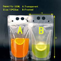 Duża Sprzedaż !!! 500ml Torba na napoje Torba na pakowanie Zipper Frosted Przezroczysty Zagęścić Portable Plastikowy Plastikowy Torba 100 SZTUK A08