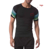 NEW 2018 Workout clothes men' s short sleeve compression...