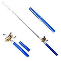 휴대용 포켓 망원경 미니 낚싯대 펜 모양 접힌 낚싯대 릴 휠 낚싯대 펜