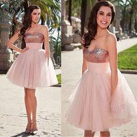 Rose Gold Sequins Abiti da ribaltamento Sweetheart Short Prom Dress con Gonna in tulle Rosa Pluffy Gonna in tulle per ragazze Abiti da cocktail