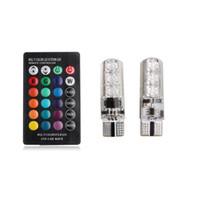 2 pezzi / paio T10 5050 telecomando auto lampadina a led 6 smd multicolore W5w 501 lampadine laterali spedizione gratuita via DHL