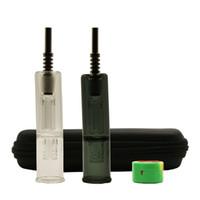 Titanyum Nail Oil Rig Konsantre Dab Straw Mini Cam Suyu bonglar ile DHL Ücretsiz EGO Fermuar Vaka 14mm Mini Cam El Borular