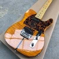 Prens HS Anderson Hohner Madcat Çılgın Kedi Tele Amber Sarı Alev Maple Top Elektro Gitar Leopar Pickguard, Çift Kırmızı Kaplumbağa Vücut ...
