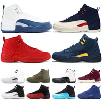 Bulls 12 XII Men Basketball Shoes Gym Red OVO FLU GAME White...