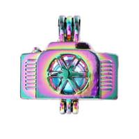 La nuova macchina fotografica colore dell'arcobaleno Pearl Cage Lava Bead Cage Pendant Medaglioni diffusore per l'Oyster Akoya Pearl monili che fanno