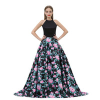 2019 인쇄 된 꽃 라인 댄스 파티 드레스 사이드 포켓 바닥 길이 공식 파티 드레스 블랙 새틴 탑 인쇄 꽃 치마 B013