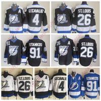 Reto Tampa Bay Lightning Jerseys 91 Jerseys hóquei Steven Stamkos Jersey 4 Vincent Lecavalier 26 Martin St. Louis CCM Vintage costurado Homem