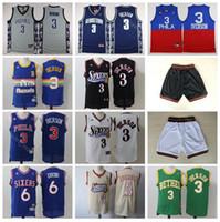 1c47e4369 Philadelphia Basketball 76ers Allen 3 Iverson Jersey Men Georgetown Hoyas  College 6 Dr J Julius Erving Jerseys With Short Uniform