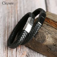 Ckysee Men Punk Jewelry Black Color Leather Braided Bracelet...