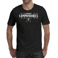 Moda Mens Vanderbilt Commodores Futebol Bulemark Logo Preto Redondo Pescoço T Camiseta Criador Personalizado Camisas Creator EUA Bandeira Mármore